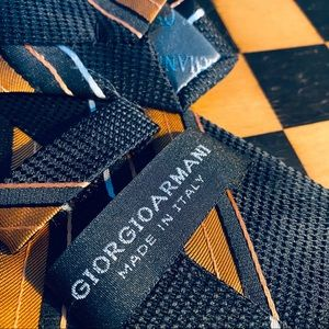 Giorgio Armani Black Stripe Mens Tie